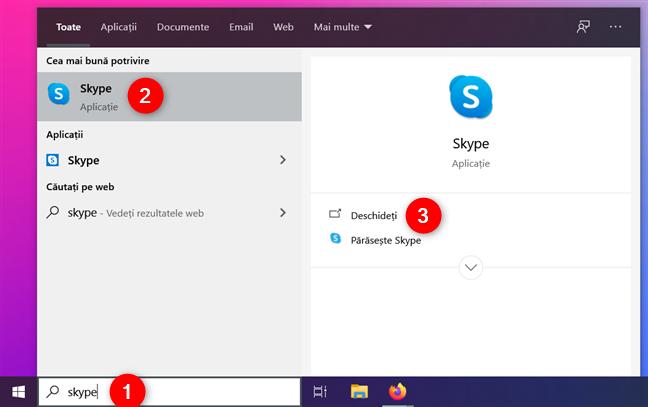 Căutarea după Skype