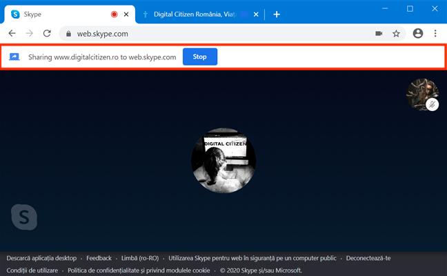 Skype for Web te informează că partajezi altă filă
