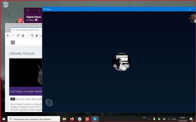 Ecranul are o bordură roșie în timp ce îl partajezi pe Skype pentru Windows