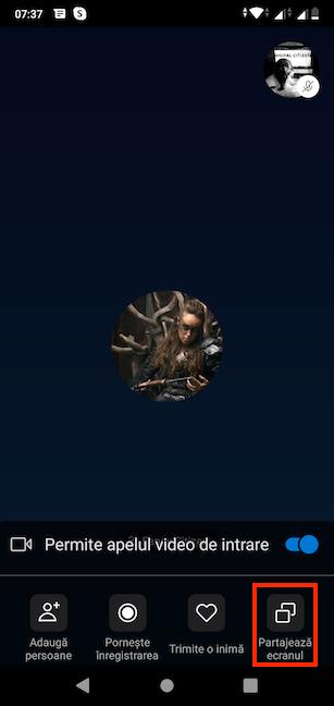 Butonul Partajează ecranul în Skype pentru Android