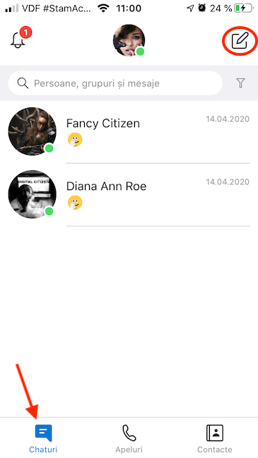 Apasă pe buton pentru a deschide un Chat nou