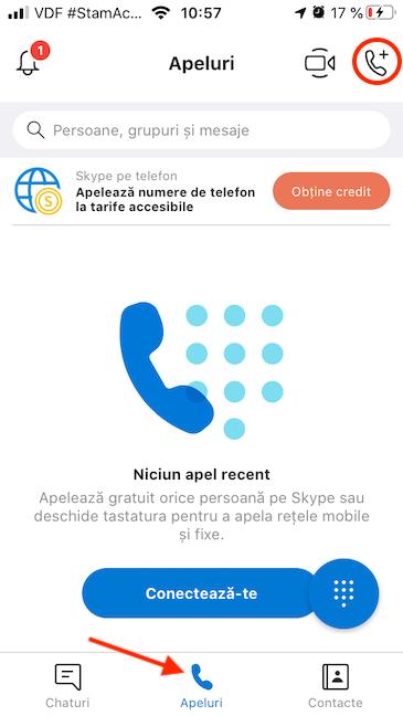 Pornește un Apel nou cu Skype pe iPhone