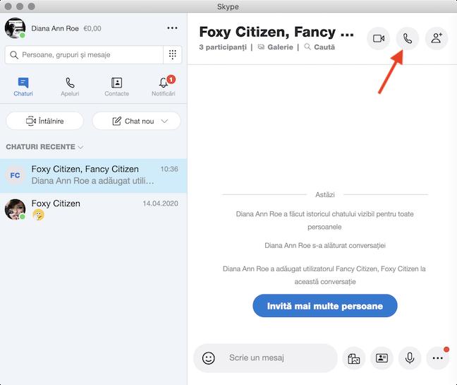 Inițiază un Apel audio cu persoanele din grupul tău de Skype