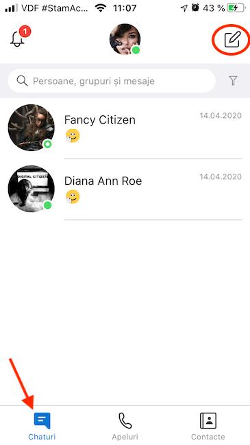 Accesează chaturile și apasă Chat nou