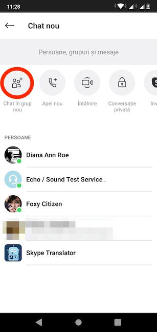 Alege să creezi un Chat în grup nou în Skype pentru Android