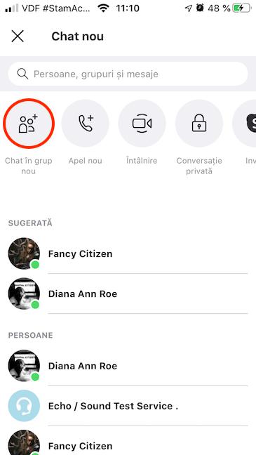 Creează un Chat în grup nou în Skype pentru Android
