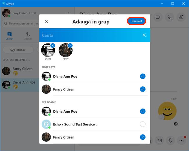 Selectează persoanele de adăugat în grup