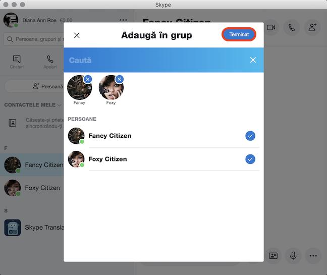Alege persoanele pe care vrei să le adaugi în grup și dă clic pe Terminat