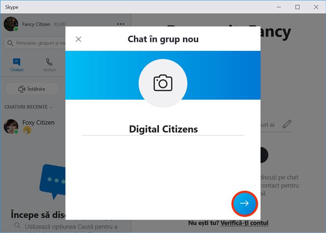Introdu un nume pentru grupul de Skype