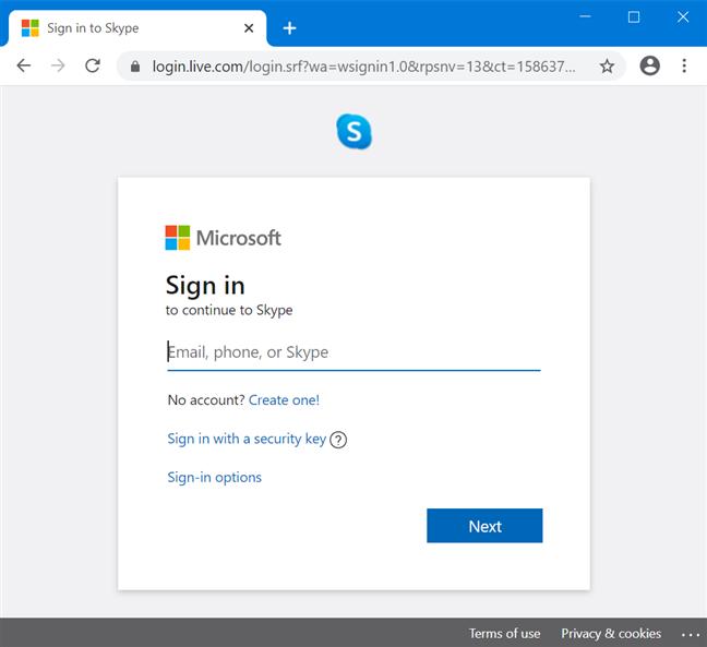 Deschide Skype for Web și autentifică-te