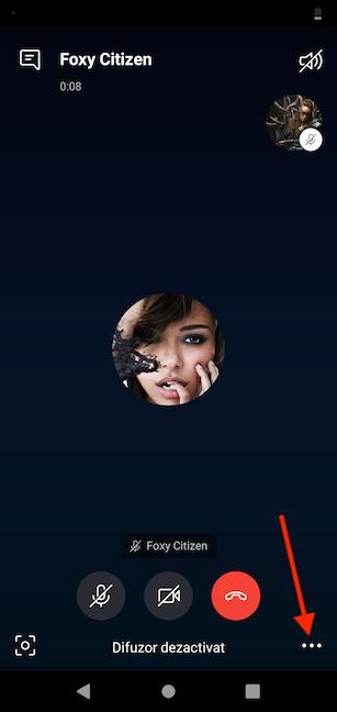 Apasă mai multe opțiuni în Skype pentru Android