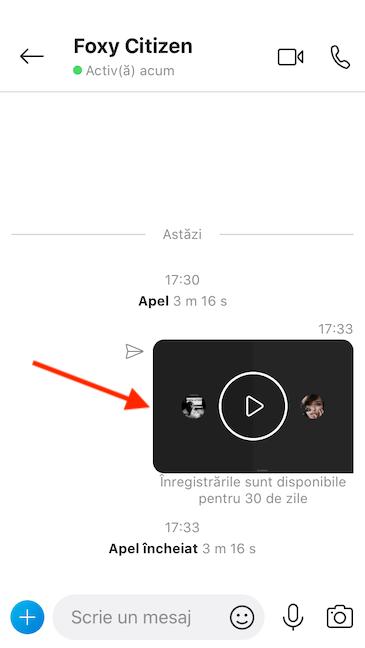 Skype postează înregistrarea în fereastra de chat