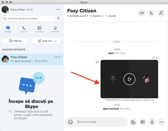 Găsești înregistrarea în fereastra de chat