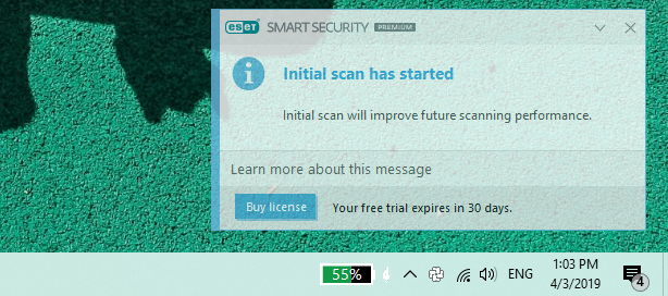O notificare afișată de ESET Smart Security Premium