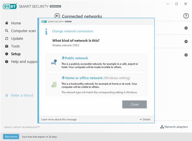 Opțiunile pentru tipul de protecție al rețelei, oferite de firewall-ul ESET