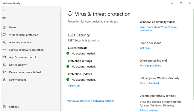 Securitate Windows oferind detalii despre starea ESET Security