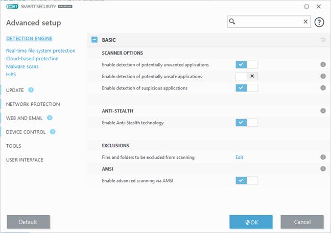 Setări avansate din ESET Smart Security Premium