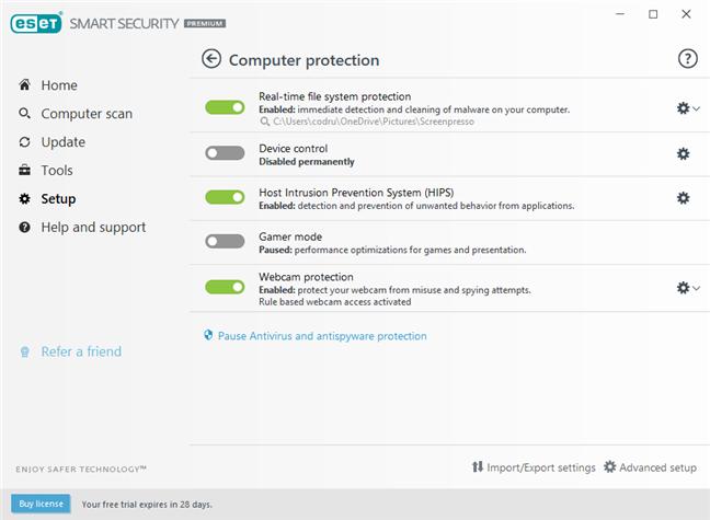 Setările din ESET Smart Security Premium