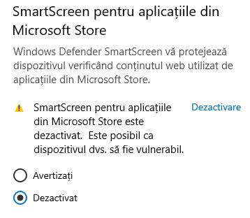 SmartScreen pentru aplicațiile din Microsoft Store
