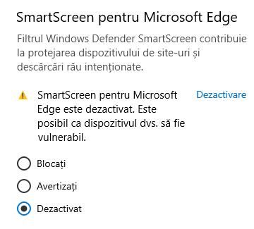 SmartScreen pentru Microsoft Edge