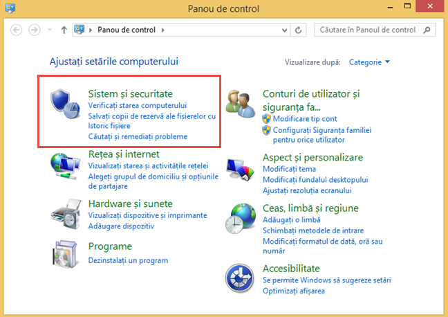 Panoul de control din Windows 8.1