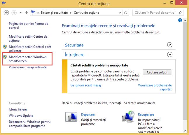 Legătura Modificări setări Windows SmartScreen