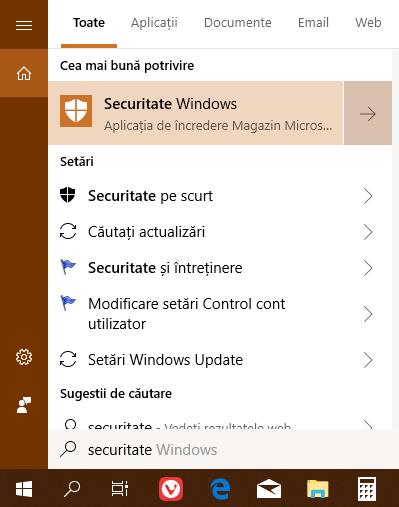 Căutare în Windows 10 pentru Securitate Windows