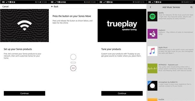 Configurarea aplicației Sonos pe un smartphone cu Android