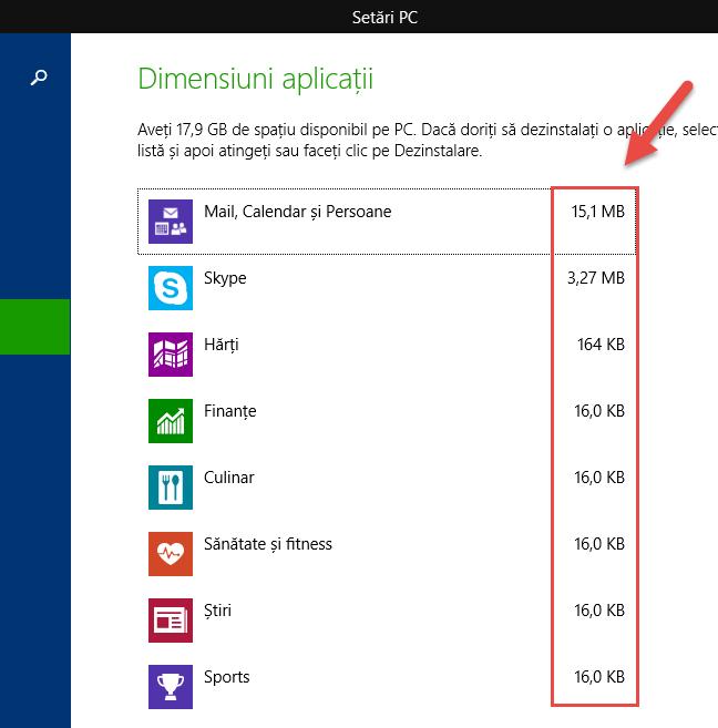 Vezi dimensiunile aplicațiilor universale din Windows 8.1