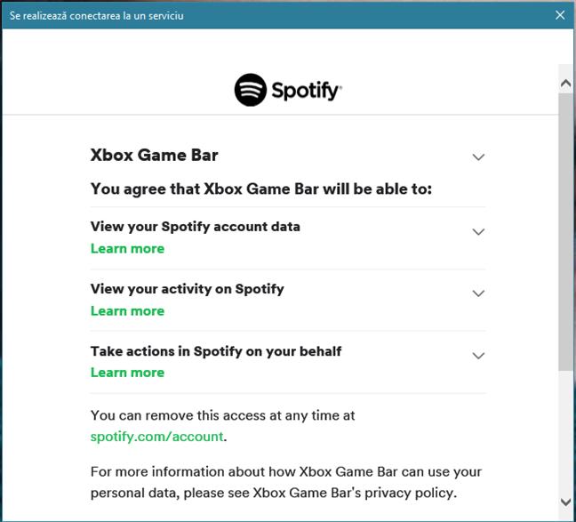 Permiterea Xbox Game Bar de a se conecta la contul tău Spotify