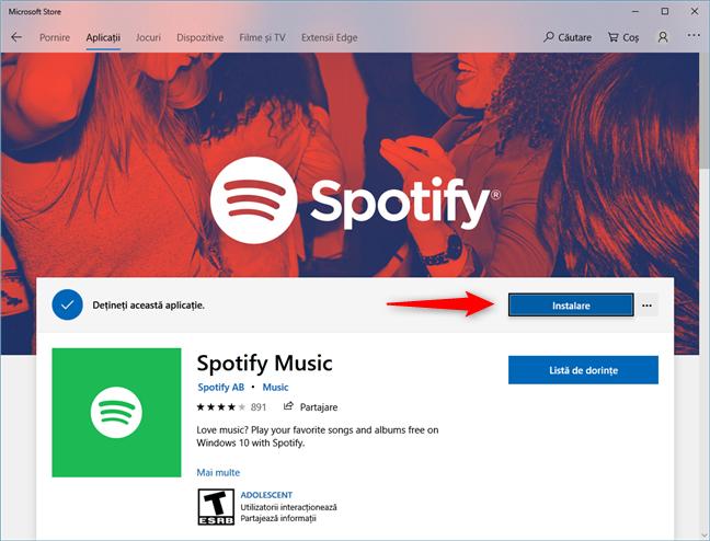 Pagina aplicației Spotify din Magazinul Microsoft