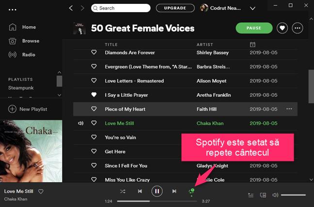 Spotify este setat să repete cântecul curent