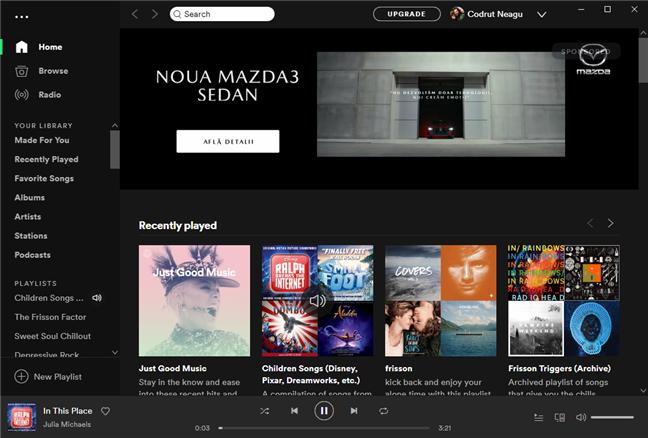 Aplicația Spotify conectată la profilul tău