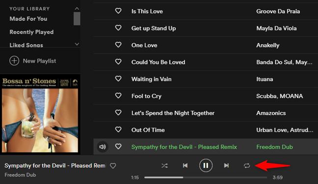 Butonul Repeat (Repetare) din Spotify pentru Windows