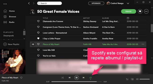 Spotify este configurat să repete albumul sau playlist-ul curent