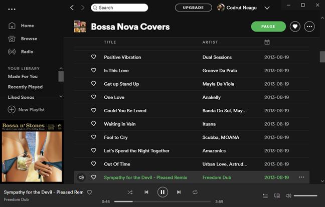 Redarea unui cântec în Spotify pentru Windows