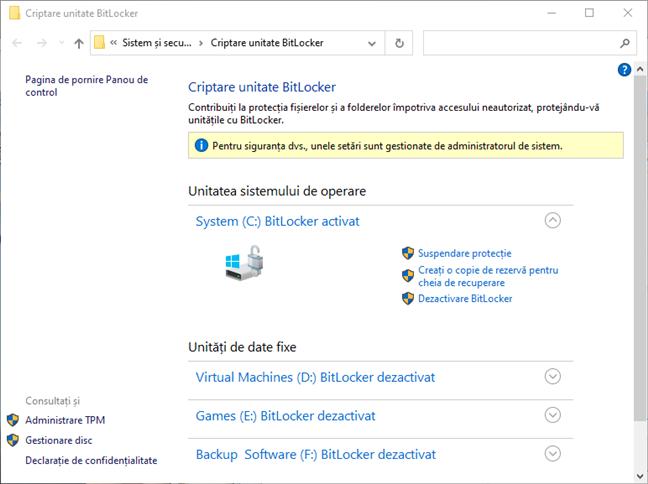 Secțiunea Criptare unitate BitLocker din Panoul de control