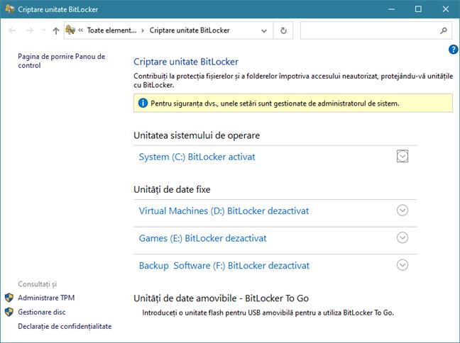 Fereastra Criptare unitate BitLocker