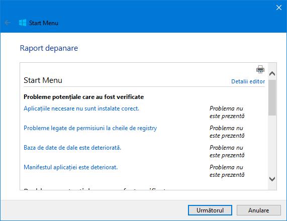 Depanare, Start Menu, Windows 10