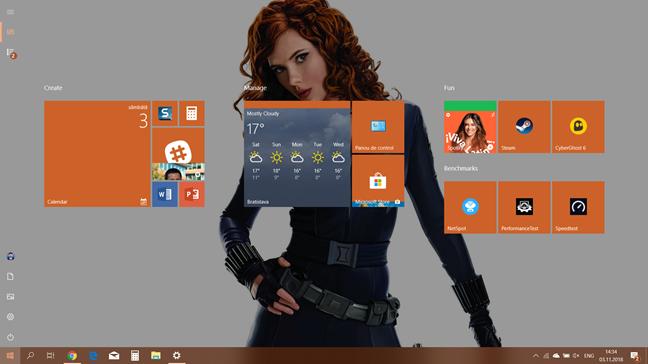 Meniul Start din Windows 10 atunci când ocupă tot ecranul