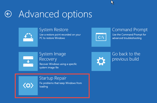 Windows, Startup Repair