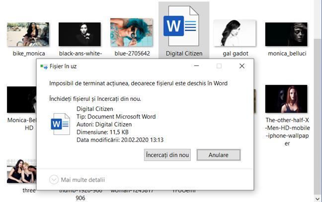 Eroarea Fișier în uz, afișată în Windows 10