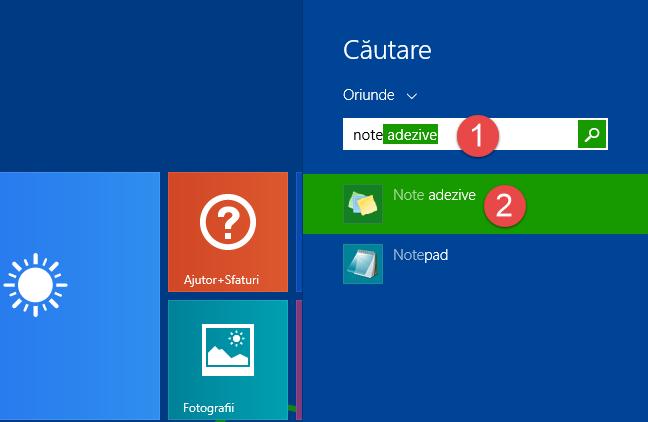Căutarea notelor adezive pe ecranul Start din Windows 8.1