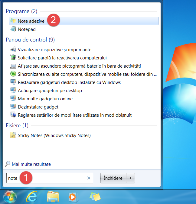 Căutarea Notelor adezive în Meniul Start din Windows 7