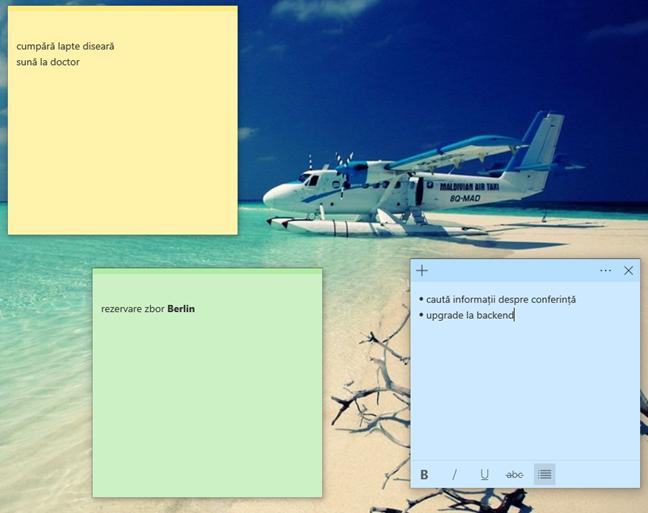 Note Adezive (Sticky Notes) în Windows
