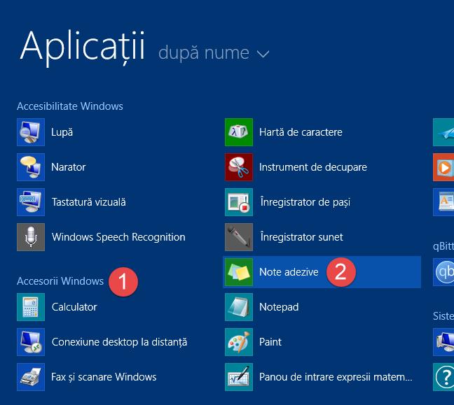 Scurtătura pentur Note adezive din lista de aplicații din Windows 8.1