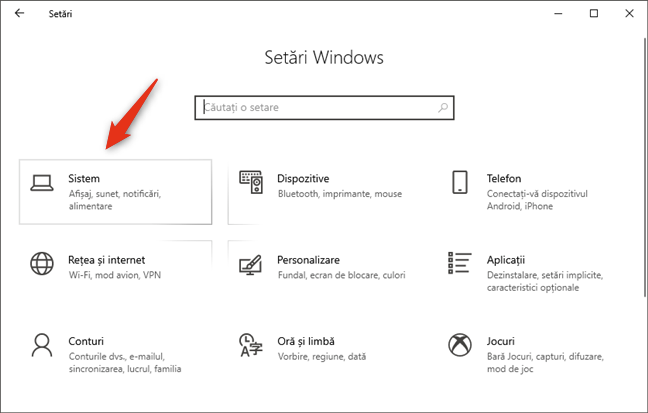 Categoria Sistem din Setările Windows 10
