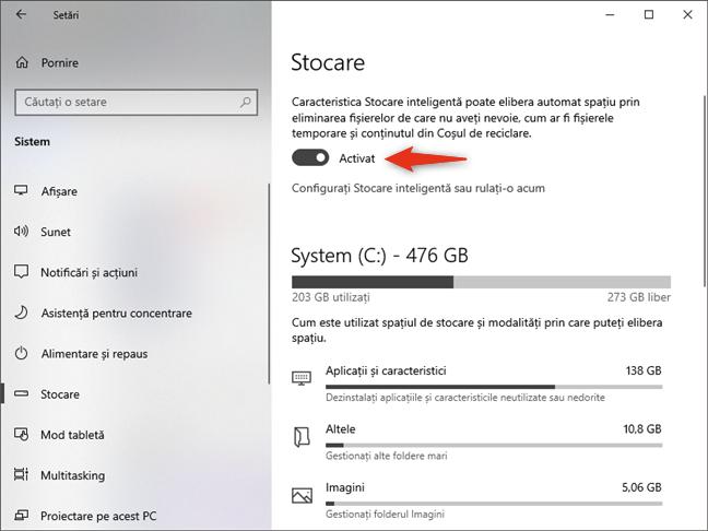 Activarea facilității Stocare inteligentă în Windows 10