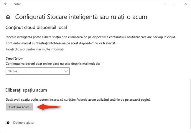 Curățarea manuală a spațiului de stocare de pe unitatea cu Windows 10, folosind Stocarea inteligentă