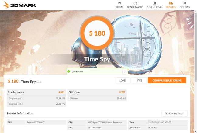 Rezultate benchmark în 3DMark Time Spy
